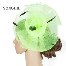 crinoline hair NZ - Fantastic color crinoline fascinator headwear feather colorful mesh event show hair accessories millinery event hat MYQ076