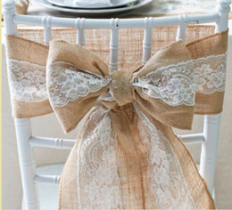 $enCountryForm.capitalKeyWord Canada - Wedding Decoration Naturally Elegant Burlap Lace Chair Sashes Jute Chair Tie Bow For Rustic Party Event Decoration