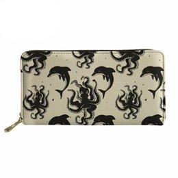 Noisydesigns осьминог печатных женщин кошельки дамы Cluth тонкий кошелек долго для женщин наличный Держатель телефона милые монеты изменить карман