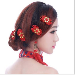 Gray Hair Red NZ - New bride handmade headwear wholesale red hair hair clip wedding Chinese toast dress accessories