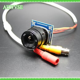 Discount 4mm camera AHWVSE CMOS 1200TVL Mini CCTV Camera Module with BNC Cable and CS Lens 4mm 6mm 8mm 12mm 16mm