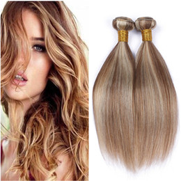blonde highlight human hair extensions Australia - Cheap Indian Virgin Human Hair Piano Color Weaves Extensions 4Pcs #8 613 Brown Highlight Mixed with Blonde Piano Color Human Hair Bundles