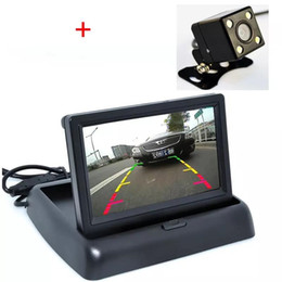 "FaWholesale-Auto Parking Assistance 4.3 "" rear view foldable monitor with New 4LED Night Vision Car Camera from spying clock suppliers"