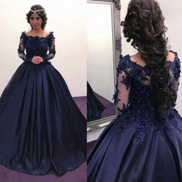 7befdb74441 Sexy chriStmaS ShirtS online shopping - Fall Winter Christmas Navy Blue Long  Sleeve Prom Dresses Lace