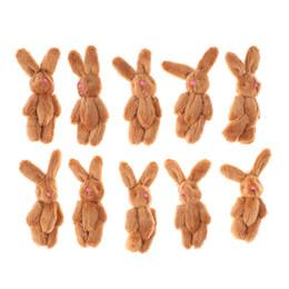 Red Rabbit Toy UK - 10Pcs Set Cute Soft Mini Doll DIY Ornaments Gifts Joint Rabbit Pendant Plush Bunny For Key Chain Bouquet Toy Random Color