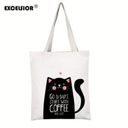 $enCountryForm.capitalKeyWord Canada - EXCELSIOR 2017 Cartoon Cats Printed Beach Zipper Bag Bolsa Feminina Canvas Tote Shoulder Bag sac a main femme de marque Bolsos