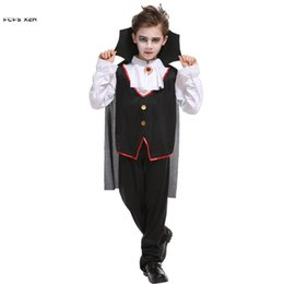 kids scary costumes 2019 - M-XL Boys Halloween Vampire Costumes Children Kids Death Dracula Scary Cosplays Carnivl Purim masked ball Masquerade Par