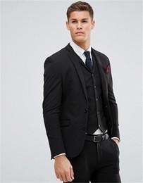 55e80755082f Men Suits Black Men's Blazer Slim Fit Wedding Male Groom Tuxedos suit Prom  Jacket+Pants+Vest+Tie