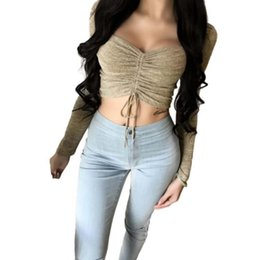 Chinese  Cotton Knitted Womens Long Sleeve Blouse Cropped Sexy Tank Tops Deep V Neck Female Tubes Workout Fitness Ladies Sweat Shirts manufacturers