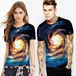 T Shirt Digital Printing Sport Australia - Explosion models hot swirl stars creative digital printing t-shirt men's sports shirt