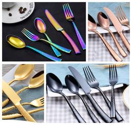 Discount black stainless steel cutlery - 5 Pcs Set Dinnerware Set Stainless Steel Cutlery Set Knife Fork spoon black gold rainbow dinnerware tableware set KKA561