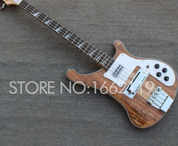 $enCountryForm.capitalKeyWord Australia - Neck Thru Body Custom 4 Strings RIC 4003 Spalted Maple Brown Electric Bass Guitar Sandwich Neck, Checkerboard Binding, Rosewood Fingerboard