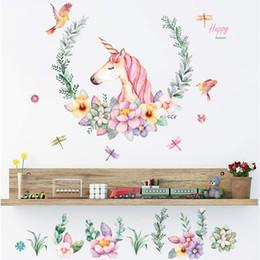 $enCountryForm.capitalKeyWord NZ - Romantic Unicorn Wall sticker flower wall decals bedroom living room sofa background Home Decor poster mural stickers