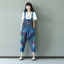 3aaafc5716f Women wide leg denim jumpsuit Baggy drop crotch overalls Plus Size calf-  Length Ripped Hole Rompers Suspenders Jeans