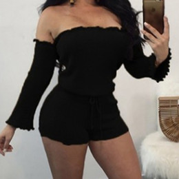 GAOKE Women Bodysuit Knit Off Shoulder Romper Long Sleeve Bandage Rope Belt  Drawstring Shorts Sexy Playsuit Bodycon Femme 93d99cc5e