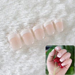 Discount patterned acrylic nail tips - 24Pcs White Pink French False Nails Long Acrylic Classical Full Artificial Press on Nails Tips Pattern Nep Nagels Faux O