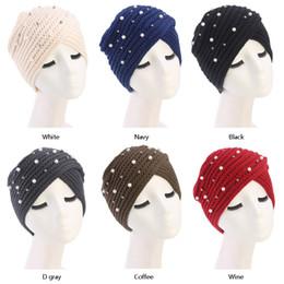 Muslim Women Pearl Bead Winter Warm Wool Knit Turban Hat Cancer Chemo Beanie  Sleep Headwear Wrap Plated Hair Accessories 6e7e17bb1efe