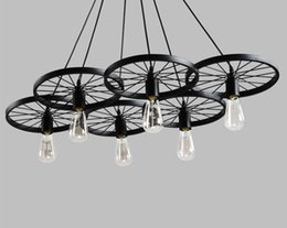 $enCountryForm.capitalKeyWord Australia - Round iron wheel Pendant Light American loft retro industrial Wind Pendant Lamp For bar cafe clothing store Home lighing NO22
