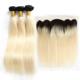 Discount 1b 613 ombre straight hair weave - Ombre Blonde Bundles Silk Straight Brazilian Virgin Human Hair Weaves With 13x4 Lace Frontal 1B 613 Colored Extensions A
