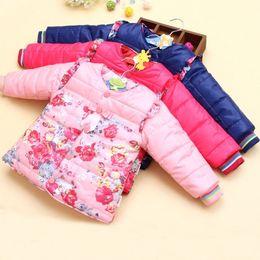 Discount korean fashion baby boy clothes - 2018 Baby Small Flower Winter Kid Girl Hooded Outwear Baby Korean Cotton Warm Jacket Children Thick Fashion Parkas Child
