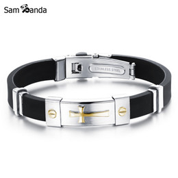 Chinese  Newest Men Jewelry Black Silicone Rubber Bracelet Silver Golden Cross Stainless Steel Trendy Men Bracelets MCC0262 manufacturers