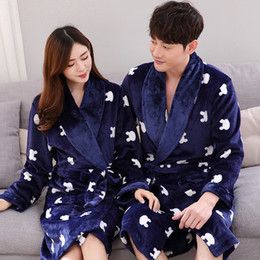 d172c77ba4 Homewear warm Autumn Winter coral fleece Spring Couple Pajama Suit Women  Robe Sets Full Sleeve Sleepwear Men Pijamas Casual
