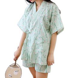 172a0e2d71 Summer Floral short kimono Pajamas sets for women 100% cotton Japanese  sakura fresh green pyjamas simple pijama Robes