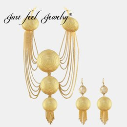 dubai jewelry sets Canada - JUST FEEL Luxury Multi-layer Chain Gold Color Big Circle Jewelry Sets Necklace Earring For Women Dubai Indian African Jewelry
