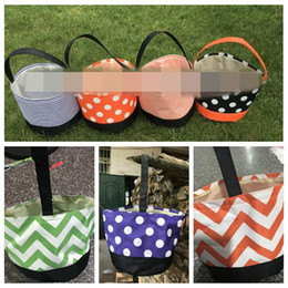 Candy stripe bags online shopping - 7 Styles cm Stripe Halloween Buckets Halloween Tote Bag Trick or Treat Candy Gift Bag Dot Storage Baskets CCA10034