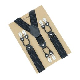 Leather Belt Clips NZ - 6 clips Jacquard Pattern Vintage 120cm Men's Braces Fashion Real Leather Suspenders Suspensorios Adjustable Belt Strap
