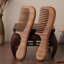 Discount sandalwood hair comb - Natural Green Sandalwood Wooden Comb Hair Brushes - 2 Size Thickening Wood Combs Beard Comb Hair Styling Health Care Hea