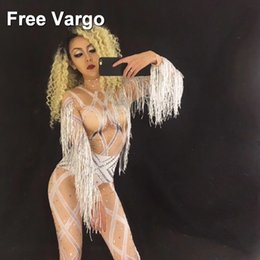 nude women costumes 2018 - Hologram Crystal Rhinestones Skinny Sexy Tassel Nude Jumpsuit Women's Dance Wear Prom Outfit Costume Dance Party St