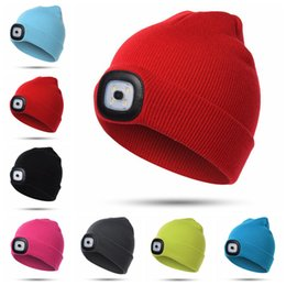 Camping hiking hats online shopping - LED Light Hat Colors Knitted Warm LED Headlamp Beanies Cap Hiking Camping Running Beanies Party Hats OOA5736