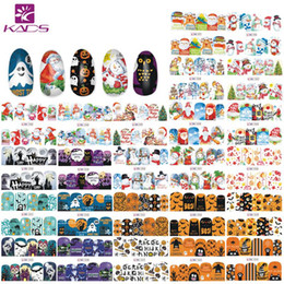 nail art series NZ - KADS 48 PCS Nail Decal Sticker Christmas Halloween Series Snowman Santa Claus Dreamcatcher Tips Nail Art Water Transfer Stickers