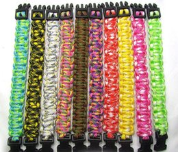 Wholesale 200 Colors Self rescue Cord Rope Paracord Buckle Bracelets Military Bangles Sport Outdoor Survival Gadgets for Travel Camping Hiking