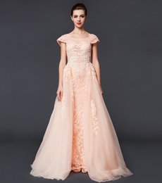 high collar formal evening dresses 2019 - High Quality New Formal Evening Dresses Noble And Elegant Large Round Neck Pink Lace Applique Bead Spring And Summer Big