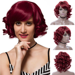 Red Hair Dyes Australia - Wine Red Short Bob Curly Hair Cheap Side Bang Chemical Headgear Dyed Partial Short Fiber Burgundy Wig