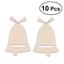 China 10PCS Cutout Veneers Slices For Patchwork DIY Crafting Decoration Christmas Wooden Hollow Jingle Bell Cutouts Craft cheap jingle bells crafts suppliers