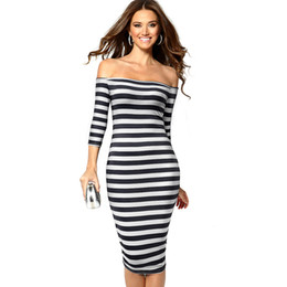 654f141e2f47 Causal Contrast color Patchwork Stripes vestidos Off Shoulder Bodycon  Business Party Sheath Women Dress