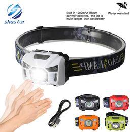 5W LED Cuerpo Sensor de movimiento Faros Mini faro recargable al aire libre que acampa linterna cabeza antorcha lámpara con USB en venta