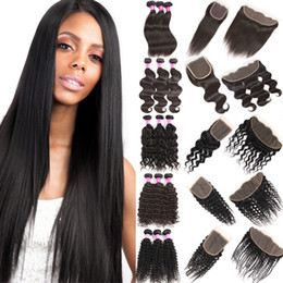 unprocessed virgin kinky straight hair 2019 - Straight Brazilian Human Virgin Hair Extensions 100% Unprocessed Body Water Deep Wave Bundles with Frontal Closure Kinky