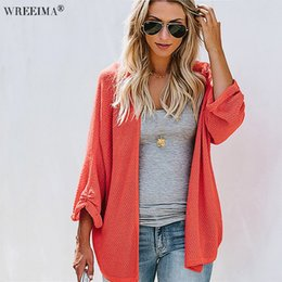 WREEIMA 2018 Casual Long Knitted Cardigan Autumn Korean Women Loose Solid  Color V-Neck Cardigans Sweater Jacket Navy yellow f5d1f4232