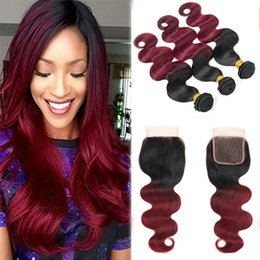 Discount new roots hair extensions New Arrival Dark Root 1B Red Ombre Hair Bundles With Lace Closure Free Part Indian 1B99J Hair Extension Burgundy Bundles