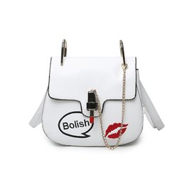 fashion lipsticks Canada - Hot Summer Casual PU Leather Women Shoulder Bag Fashion Lipstick Shape Lock Women Messenger Bag Small Chain Women Bag