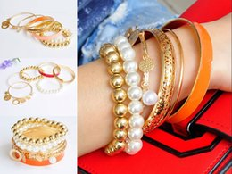 coin wrapping NZ - 1 Sets Women Bracelet Korean Style Exquisite Coin Pearl Hollow Bracelet Set Jewelry Multilayer Bangle Sets Wrap Cuff for Women Girls H137R