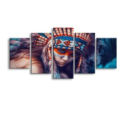 Art Canvas Prints Australia - 5 pieces high-definition no frame print Indians Girl canvas oil painting poster and wall art living room picture RW-075