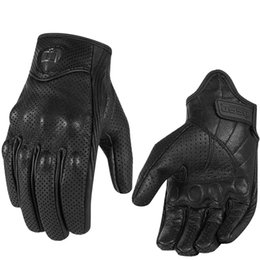 Опт Перчатки Moto Riding Racing Gloves Кожаные велосипедные перчатки Перфорированные кожаные мотоциклетные перчатки черного цвета Размер M L XL