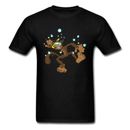 blue monkey cartoons Australia - 2018 Ollie The Drowning Monkey Men Funny T Shirt Cartoon No Fade Pop Skater Black Tee Shirts Cotton Clothing Fitness