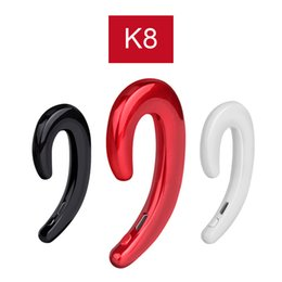 Wholesale K8 Bluetooth Headphone Wireless Earphone Stereo Ear Hook Universal Mini Phone Headset No Earplugs Car Handsfree Car Mic for iPhone Xiaomi