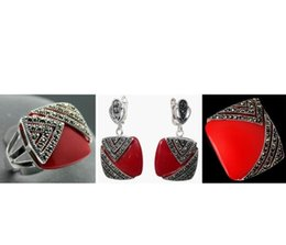 ruby jade jewelry UK - Noble Red Carved Lacquer Marcasite 925 Sterling Silver Square Ring(#7-10) Earrings & Pandent jewelry sets